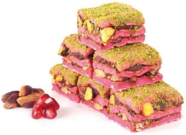 Turkish Delight Baklava-Granatapfel mit Schokolade und Pistazien