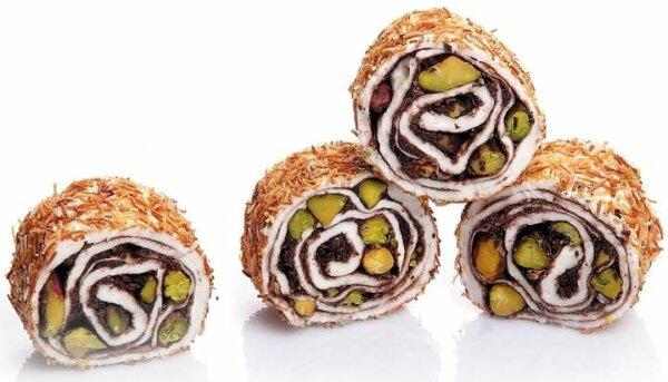 Turkish Delight Rollen mit Engelshaar, Pistazien und Schokolade