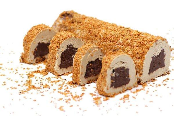 Turkish Delight Halva mit Kakao umhüllt von Sesam
